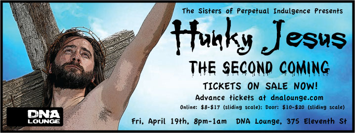 "Announcement for rescheduled ""Hunky Jesus"" contest put on by the Sisters of Perpetual Indulgence."