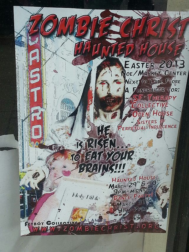 "Poster advertises anti-Christian ""Zombie Christ"" haunted house."