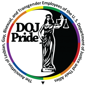 "Logo for Department of Justice homosexual employees group, ""DOJ Pride."""