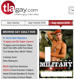 "Homosexual male pornography often has military themes. This video (nudity covered by AFTAH) is titled, ""Military Dorm."" It is told by the homosexual porn video retailer TLA, which annually has booths at ""Gay Pride"" events (which are attended by young children)."