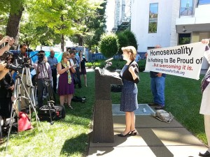 Linda Harvey of Mission America speaks out against pro-homosexual school programs, outside the homosexual lobby group Human Rights Campaign's D.C. headquarters. Harvey was the target of vulgar hate-emails after she was mentioned in press release days before the event.