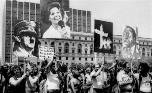 San Francisco homosexual rally compares Anita Bryant to Hitler, the KKK and Ugandan genocidal dictator Idi Amin. LGBT activists continue to smear traditionalist by equating them with haters and fringe groups like the Klan.