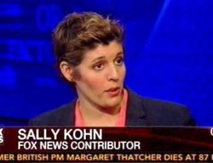 "Fox's resident ""out"" lesbian liberal, Sally Kohn, uses her unlikely perch at the network to promote a variety of left-wing causes, including abortion, ""gay rights"" in the Republican Party and assailing the GOP for its alleged ""war on women."""