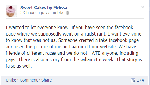 "'Gay'-Manufactured ""Hate"": This note was posted by Sweet Cakes owners Aaron and Melissa Klein on their Facebook page September 6, 2013"