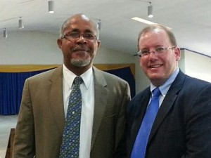 "Jamaican Pastor Eric Edwards of Word of Life Church in Kingston, with AFTAH's Peter LaBarbera. ""Right is right, and wrong is wrong,"" said Edwards, in response to international pressure on Jamaica to repeal its anti-buggery law banning homosexual conduct."