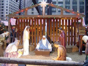 Nativity scene in Chicago's Daley Plaza. An atheists' display is nearby -- offering a contrast between good and evil.