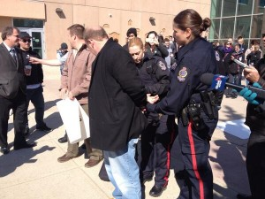 AFTAH President Peter LaBarbera being arrested at the University of Regina. Yesterday, Judge MaryLynne Beaton rejected the university's claim that a peaceful protest at U-R against abortion and sodomy somehow interfered with students' education.