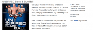 """Gay Days"" at Disney is a full week of parties and events. Here is an item on the 2014 Gay Days site advertising a homosexual ""leather"" (sadomasochism) ball."