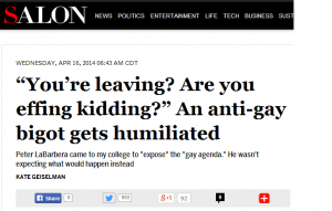 "The liberal online magazine Salon became the conduit for Kate Geiselman's absurd ""effing"" lie."