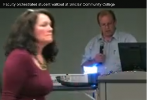 """SCC Prof. Rebecca Morean leads the """"walkout"""" of Peter LaBarbera's speech at the college. Morean was obsessed in her contempt of the Traditional Values Club and later gave credence to fellow SCC professor Kate Geiselman's lie."""