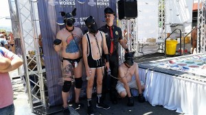 "AFTAH's Peter LaBarbera said that in some ways ""America has surpassed Sodom"" in our celebration of sexual immorality and heinous perversions. Here an older man poses for a photo with his three younger male ""dog slaves"" at the recent San Francisco ""Up Your Alley"" sadomasochistic street fair. See AFTAH photo-story HERE."