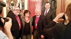 "Proud 'Gay' Christianity? Openly homosexual Lutheran (ELCA) Bishop Rev. Dr. Guy Erwin (far left) and former Episcopal Bishop V. Gene Robinson (second from right) pose for photo following their presentation at the NLGJA convention. Robinson, who gained international fame as the first openly homosexual bishop of a major Christian denomination, criticized Christians who do not wish to participate in homosexual ""weddings."" Robinson said there is something ""profane and sacrilegious"" about ""religious people arguing for the right to discriminate."" No opposing orthodox Christian viewpoint was included on the panel."