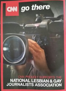 "CNN Kicks in $10,000: Like Fox News Channel, CNN gave $10,000 to the ""gay"" journalists group. This is an ad in the NLGJA convention program. It reads: ""CNN Proudly Supports the National Lesbian & Gay Journalists Association."" Click to enlarge."