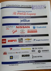 NLGJA program lists major sponsors for the conference. Click to enlarge.