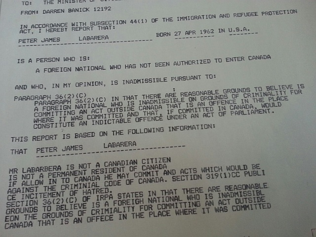 Canadian Border Services document
