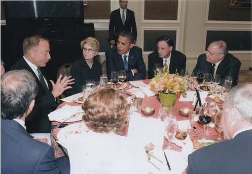 Photo on Terry Bean's Flickr site (since taken down) shows Barack Obama listening to Bean talking at an event attended by the president.