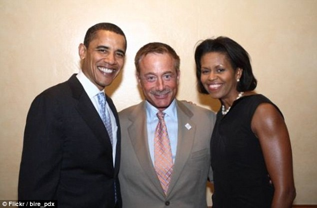 Terry Bean shown with President Barack Obama and First Lady Michelle Obama.