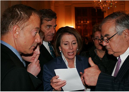 Here Bean is shown consulting with Democratic House leader Nancy Pelosi and former Congressman Barney Frank, a homosexual.