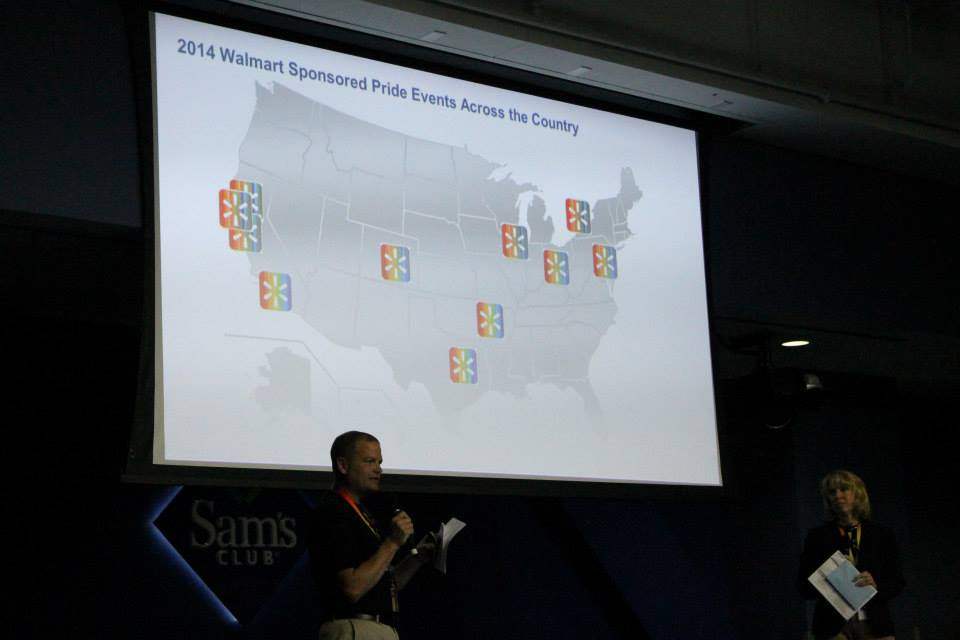 """Walmart Celebrates """"PRIDE"""" in a Sinful Behavior: Slide shown at Walmart homosexual employees group called PRIDE shows the retail giant's corporate sponsorship of various """"gay-transgender pride"""" events across the USA."""