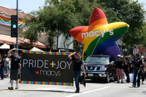 "Macy's float in homosexual ""pride parade"" in West Hollywood, CA. To contact Macy's, call 800-289-6229, or go to their Online Contact Page."