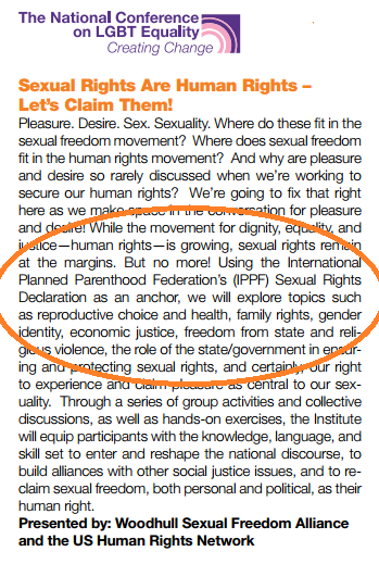 "Planned Parenthood Activism: A day-long ""institute"" for LGBTQ activists held by the National LGBTQ Task Force's ""Creating Change"" conference, to be held in Denver next month, adopts Planned Parenthood tactics in the leftist crusade for ""sexual freedom."""