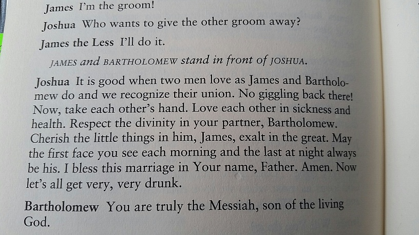"The above passage where ""Joshua""--representing ""Jesus Christ""--conducts a homosexual ""marriage"" between two of his male disciples is found on Page 62 of the play, ""Corpus Christi,"" by homosexual Terrence McNally. The play screened at Creating Change--which was sponsored by Southwest Airlines and other major corporations--is titled, ""Corpus Christi: Playing with Redemption."" It celebrates the blasphemous play."