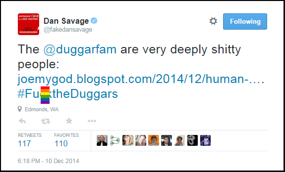 Dan_Savage_Anti-Duggars-Hate-Tweet-F-WORD_BLOCKED_Arkansas-Profam-Victory-12-10-14
