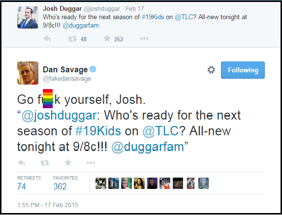 Dan_Savage_Hate_Tweet_Josh_Duggar_Go_F_Yourself_BLOCKED_RAINBOW_FLAG