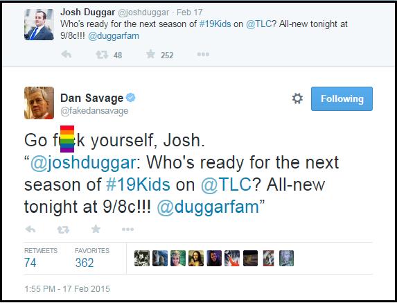 Dan_Savage_Hate_Tweet_Josh_Duggar_Go_F_Yourself_BLOCKED_RAINBOW_FLAG