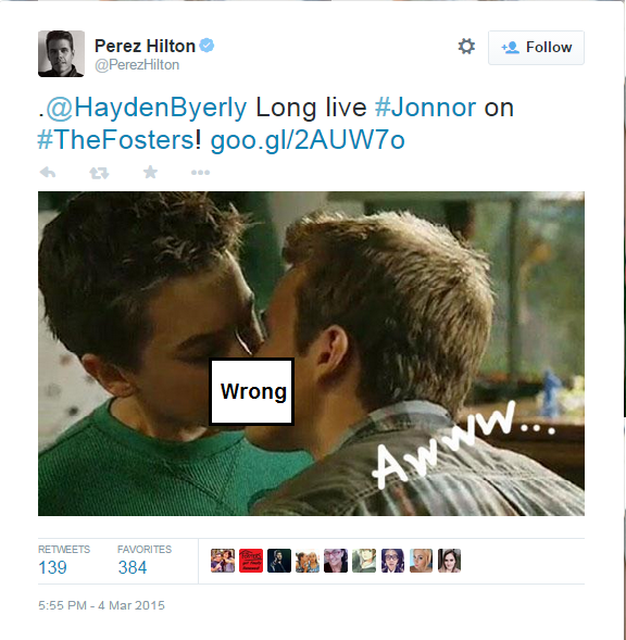 Homosexual gossip blogger Perez Hilton loved The Fosters' boy-on-boy kiss.