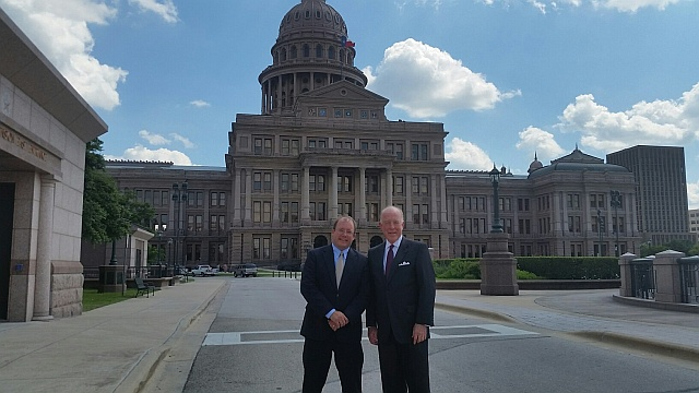 AFTAH President Peter LaBarbera with Dr. Steve Hotze, President of Conservative Republicans of Texas, in front of the Texas State Capitol building in Austin.