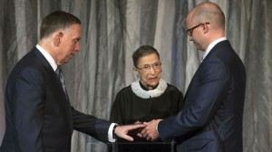 "NOT IMPARTIAL - Supreme Court Justice Ruth Bader Ginsburg officiates a homosexual ""marriage"" before the Court made its decision imposing such counterfeits on the entire nation."