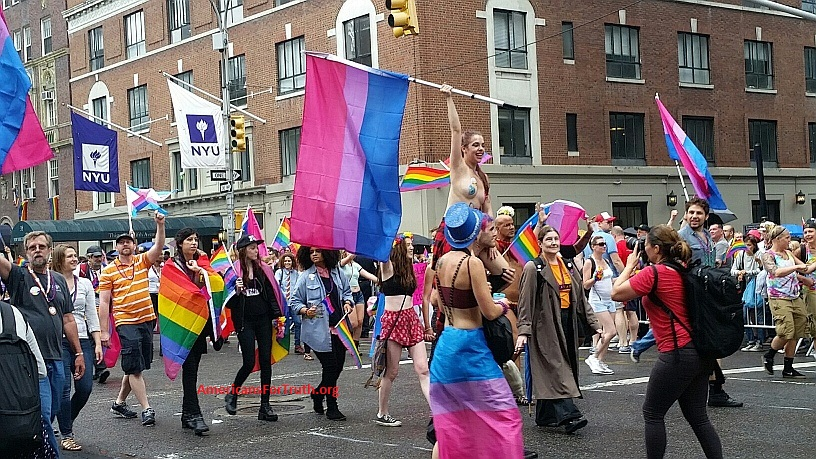 "GIrl wrapped in the ""Bisexual Pride"" flag rides the shoulders of a man at New York City's LGBT ""Pride"" parade."