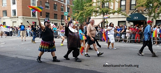 "Gender Rebels Mocking Christianity: It wouldn't be a ""gay pride"" event with the requisite mockery of Christians. Here a member of the ""Sisters of Perpetual Indulgence marches in New York City"