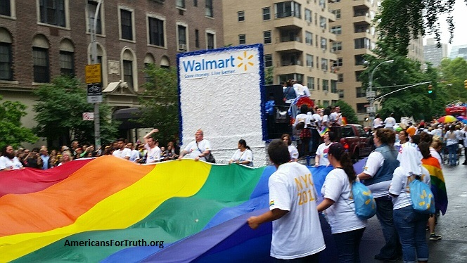 "Walmart Champions ""Pride"" in Homosexuality: Walmart marchers at New York City's homosexual ""Pride"" parade carry massive ""rainbow flag"" symbolizing the celebration of homosexuality, bisexuality and transgenderism (extreme gender confusion). Walmart was a top-level ""Platinum"" corporate sponsor of Heritage Pride, which runs the parade and the extended ""pride"" activities in late June in the Big Apple."