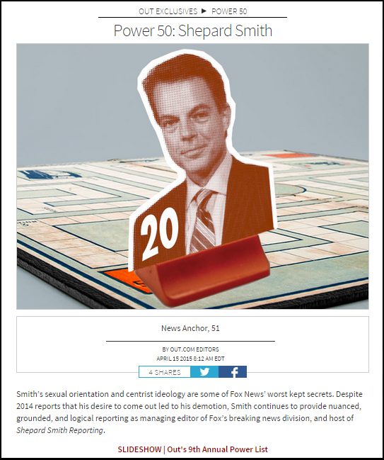 """Shep Smith's listing in the 2015 OUT magazine """"Power List"""" of politically and culturally powerful (alleged) homosexuals."""
