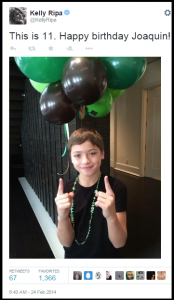 "Kelly Ripa's son, Joaquin, shown in a 2014 Twitter photo on his 11th birthday. Following the legalization of ""gay marriage"" in New York in 2011, a younger Joaquin was so exposed to homosexual male friends of his famous mom getting ""married"" that he had to ask her if a man marrying a woman was illegal."