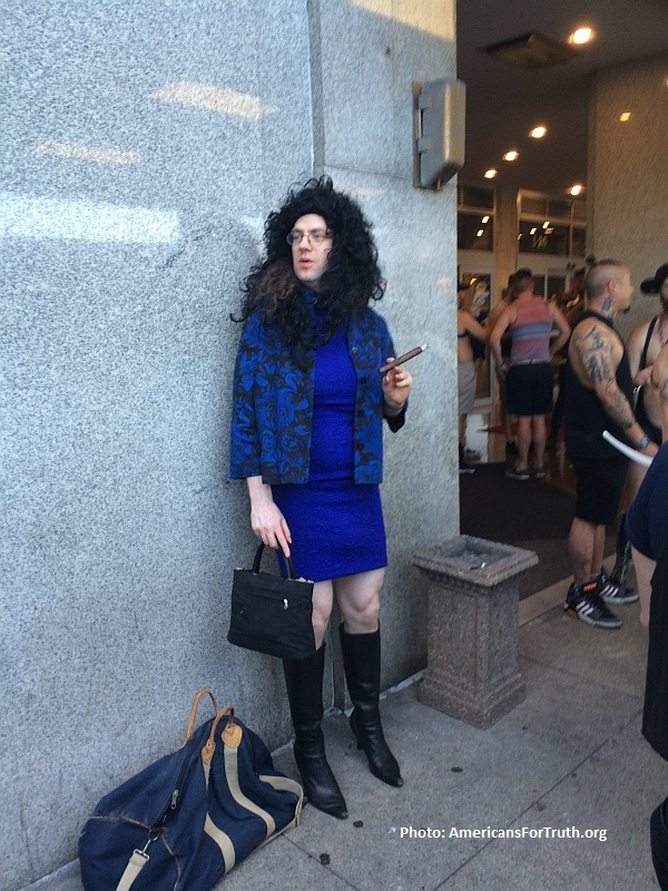 "Perhaps as a homosexual man Peter Thiel does not understand this, but most women do not want men with penises wearing dresses (like this fellow at the recent ""International Mr. Leather"" perversion-fest in Chicago) to occupy a restroom with them."