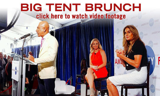 "Homosexualism in the name of ""freedom""...is being pushed in the GOP by groups like the American Victory Fund. Show above are (left to right): Montel Williams, Margaret Hoover and Bruce (""Caitlyn"") Jenner at an AUL event at the Republican convention in Cleveland."