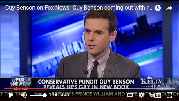 Guy Benson appearing on Megyn Kelly's Fox News show last year. Kelly was obviously supportive of Benson's sexual