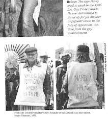 "The ""Gay"" Agenda's Radical Roots: One-time Communist Harry Hay first envisioned the notion of ""homosexuals"" comprising a sexual ""minority"" as a means of winning acceptance and growing power. Here Hay is shown defending the right of the notorious pederasty group NAMBLA (North American Man/Boy Love Association) to march in an early Los Angeles ""gay pride"" parade."