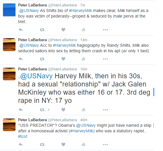 Twitter_Posts_Harvey_Milk_US_Navy_Peter_LaBarbera