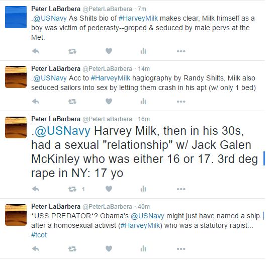 Twitter_Posts_Harvey_Milk_US_Navy_Peter_LaBarbera