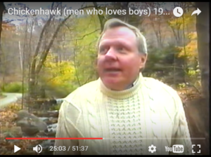 "Seducing Boys into Sex - It is very hard to watch something so evil, but note how NAMBLA leader Leyland Stevenson rationalizes the sexual seduction of boys in the film, ""ChickenHawk."""