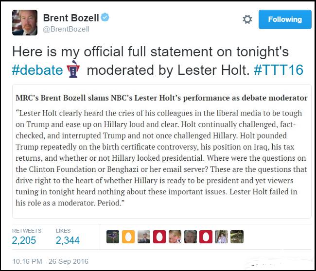 twitter_brent_bozell_lester_holt_debate_moderator_unfair_2016