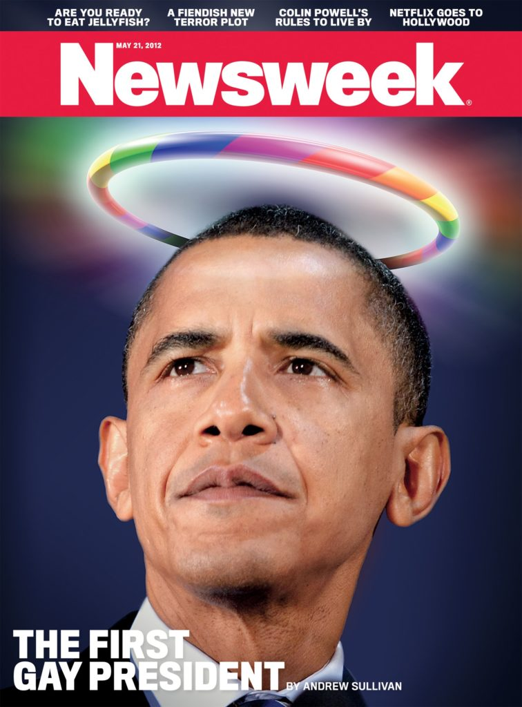 """Homosexual Halo, Sinful Agenda: Newsweek magazine declares Obama """"the first gay president""""--as they champion his far-left commitment to """"transforming"""" America in a pro-homosexual and pro-""""transgender"""" direction."""