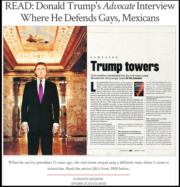 Donald Trump has a long history of pro-homosexual advocacy.