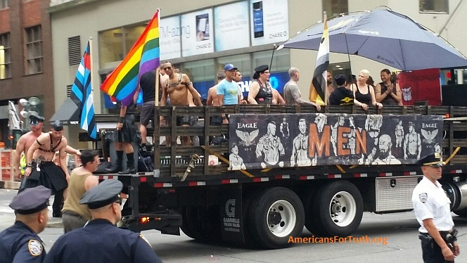 "Walmart and S&M ""Pride"": a sadomasochism-celebrating float at the 2015 NYC ""Pride"" parade. Not the black-and-blue ""leather pride"" flags. See full AFTAH photo-story on the Walmart-sponsored parade HERE."