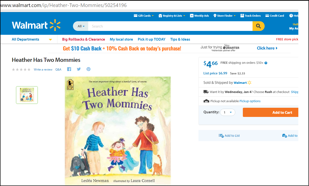 Walmart Sells Homosexual Kiddie Book